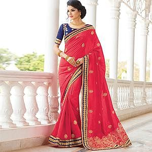 Pink Embroidered Work Party Wear Saree