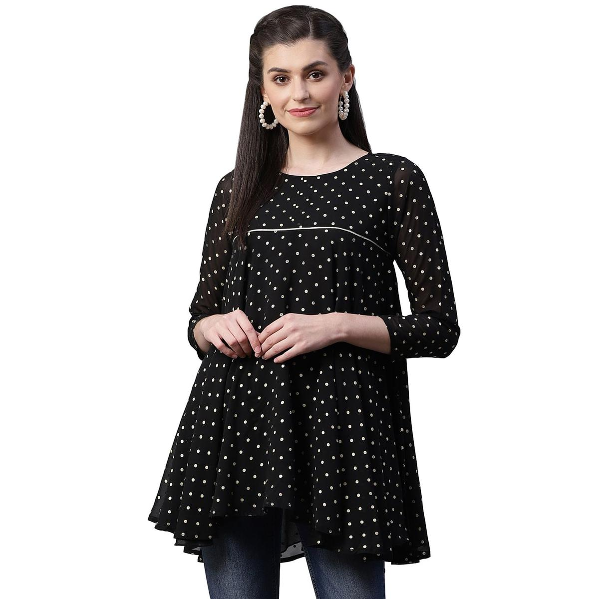 Ahalyaa - Black Colored casual Wear Polka Dot Pigment Printed Georgette Tunic