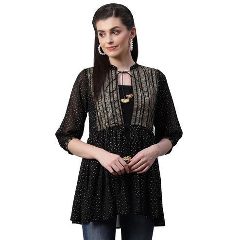 Flaunt Black Colored casual Wear Polka Dot Gold Pigment Printed Georgette Tunic