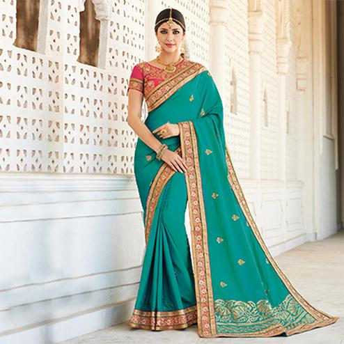 Teal Green Embroidered Work Silk Saree