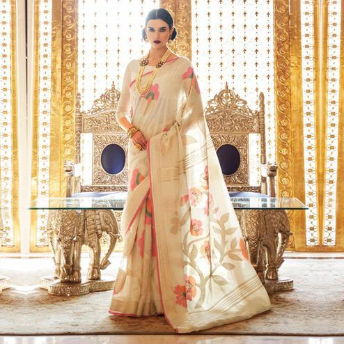 Amazing Cream Colored Casual Wear Printed Linen Saree