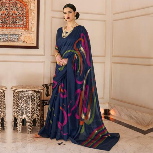 Gorgeous Navy Blue Colored Casual Wear Printed Linen Saree