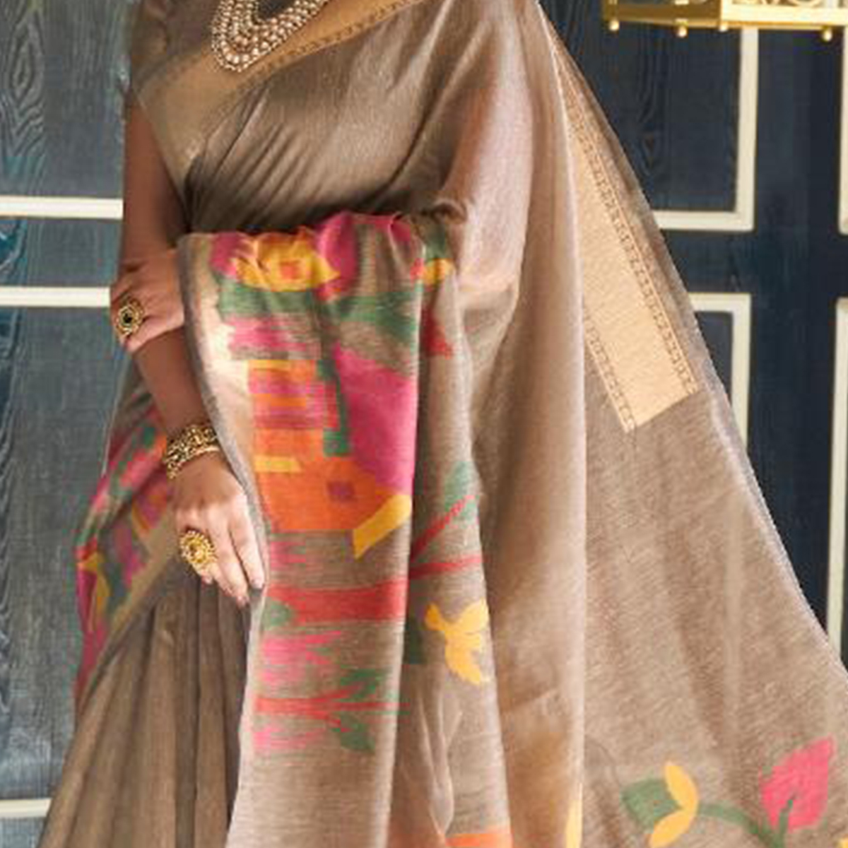 Blissful Beige Colored Casual Wear Printed Linen Saree