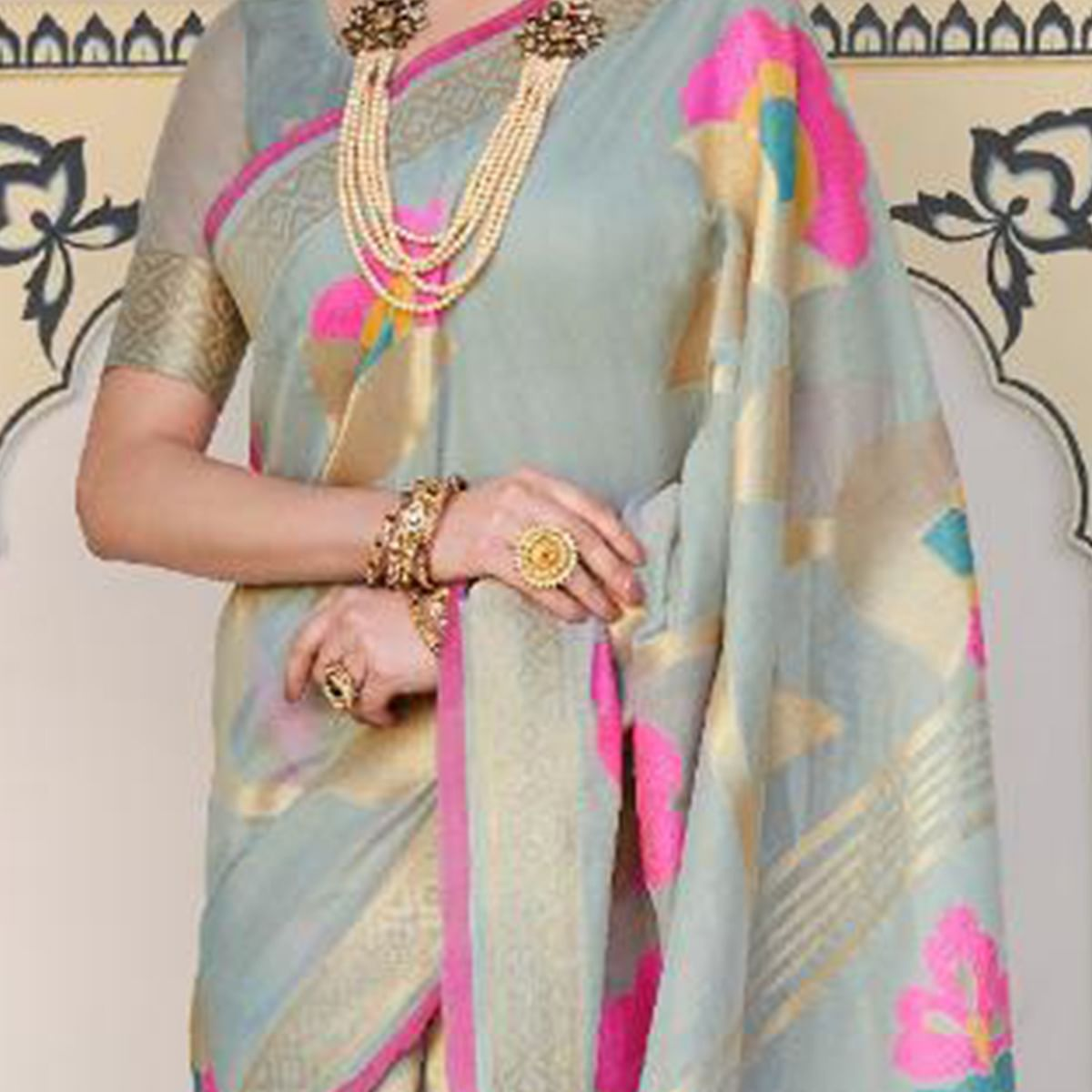 Ideal Grey Colored Casual Wear Printed Linen Saree