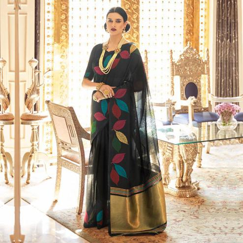 Imposing Black Colored Casual Wear Printed Linen Saree