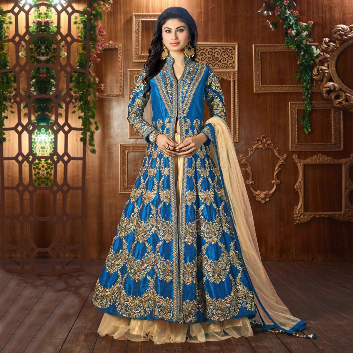 Blue Cotton Silk Embroidered Work Lehanga Suit