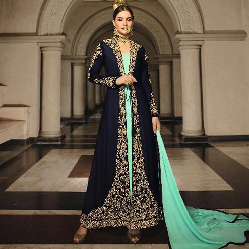 Intricate Blue Colored Partywear Designer Embroidery Firozi Heavy Georgette Anarkali Suit