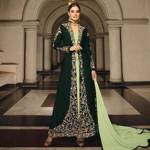 Arresting Green Colored Partywear Designer Embroidery Firozi Heavy Georgette Anarkali Suit