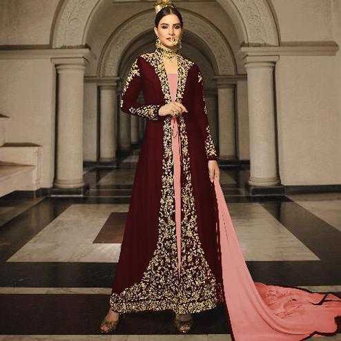 Exotic Maroon Colored Partywear Designer Embroidery Firozi Heavy Georgette Anarkali Suit