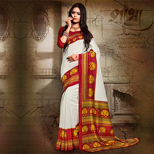 White - Red Bhagalpuri Silk Saree