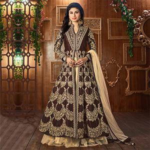 Brown Heavy Embroidered Work Cotton Silk Suit