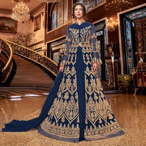 Arresting Blue Colored Partywear Embroidered Soft Net Anarkali Suit
