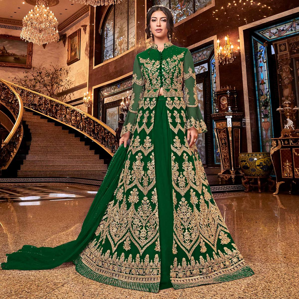 Desirable Green Colored Partywear Embroidered Soft Net Anarkali Suit