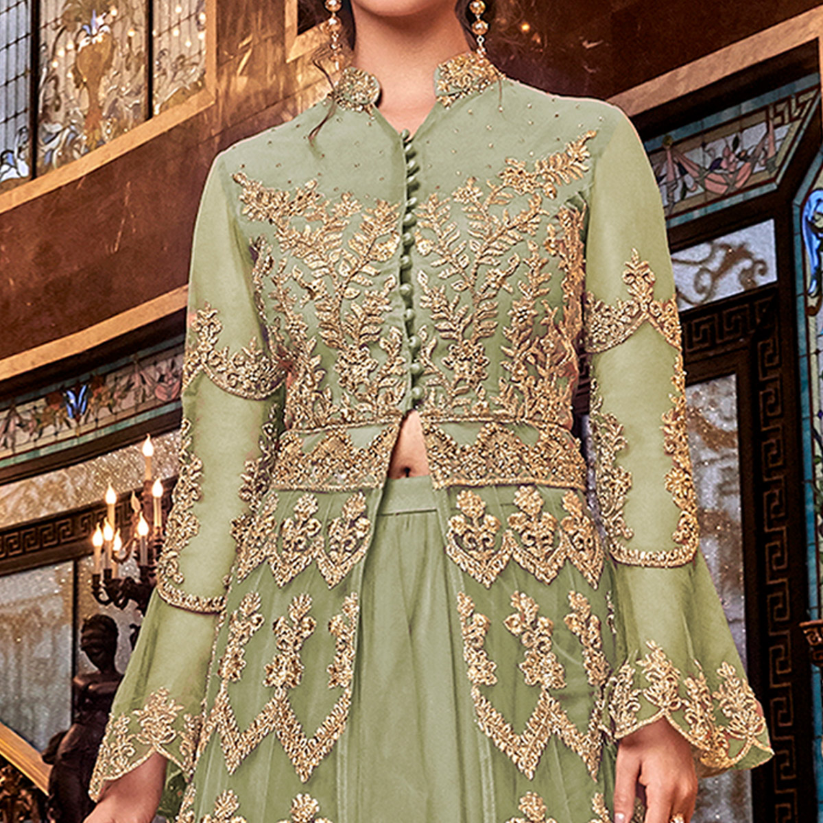 Exotic Mehendi Green Colored Partywear Embroidered Soft Net Anarkali Suit