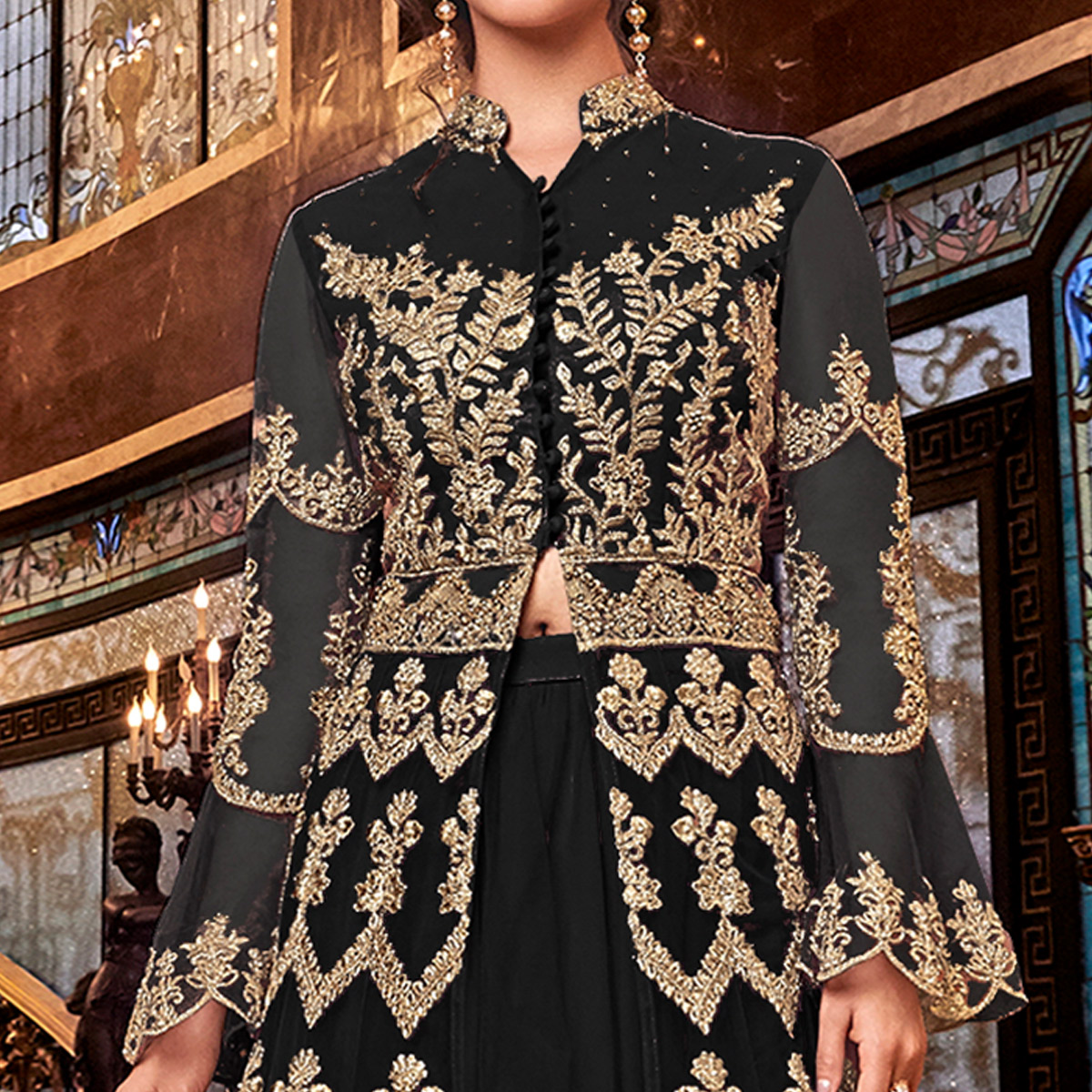 Trendy Black Colored Partywear Embroidered Soft Net Anarkali Suit