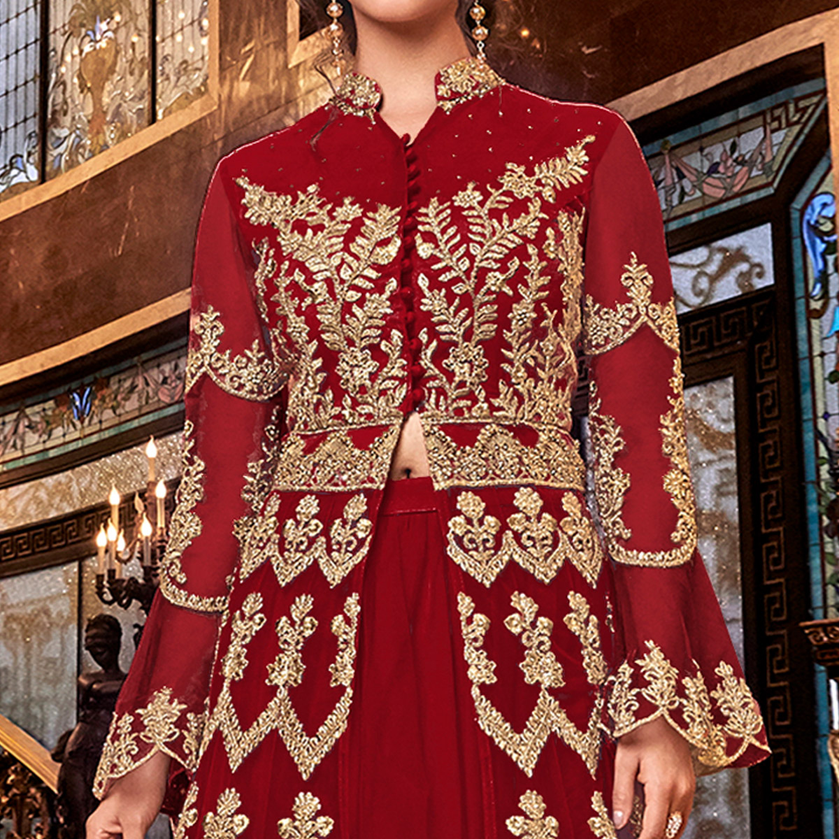 Radiant Red Colored Partywear Embroidered Soft Net Anarkali Suit