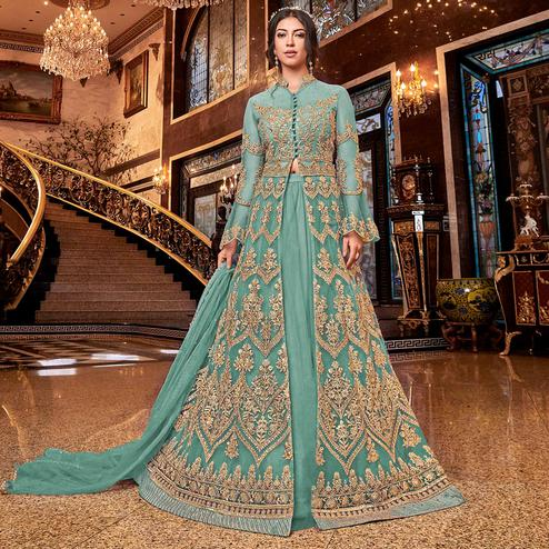 Pleasant Sky Blue Colored Partywear Embroidered Soft Net Anarkali Suit