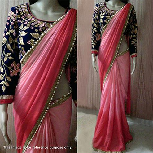 Shaded Pink Thread Work Georgette Saree