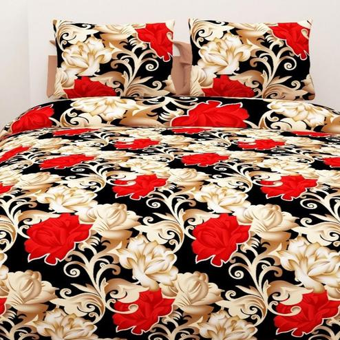 Attractive Beige Colored 3D Floral Printed Double Bedsheet With 2 Pillow Cover