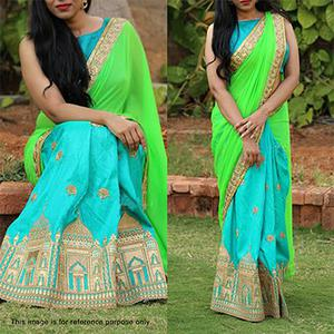 Aqua Blue - Green Half & Half Saree