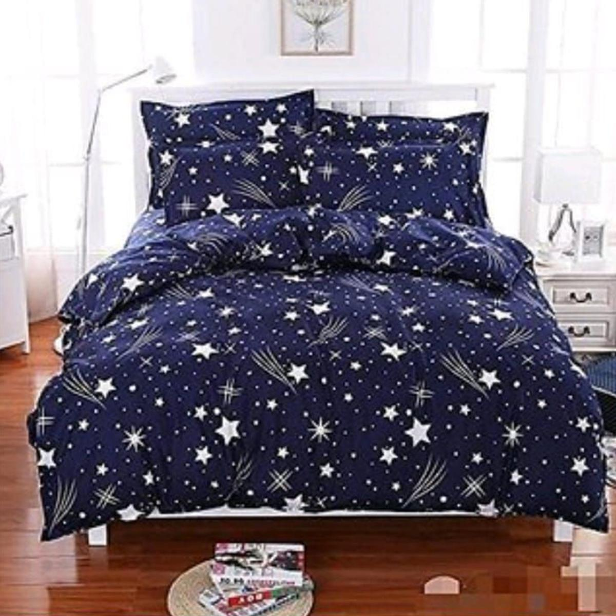 Exotic Navy Blue Colored 3D Printed Double Bedsheet With 2 Pillow Cover