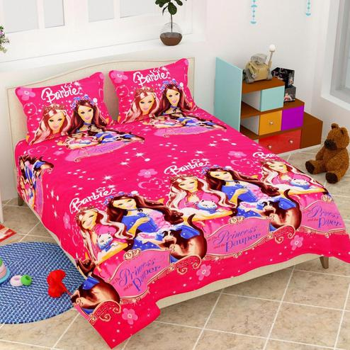 Sophisticated Pink Colored 3D Barbie Printed Double Bedsheet With 2 Pillow Cover