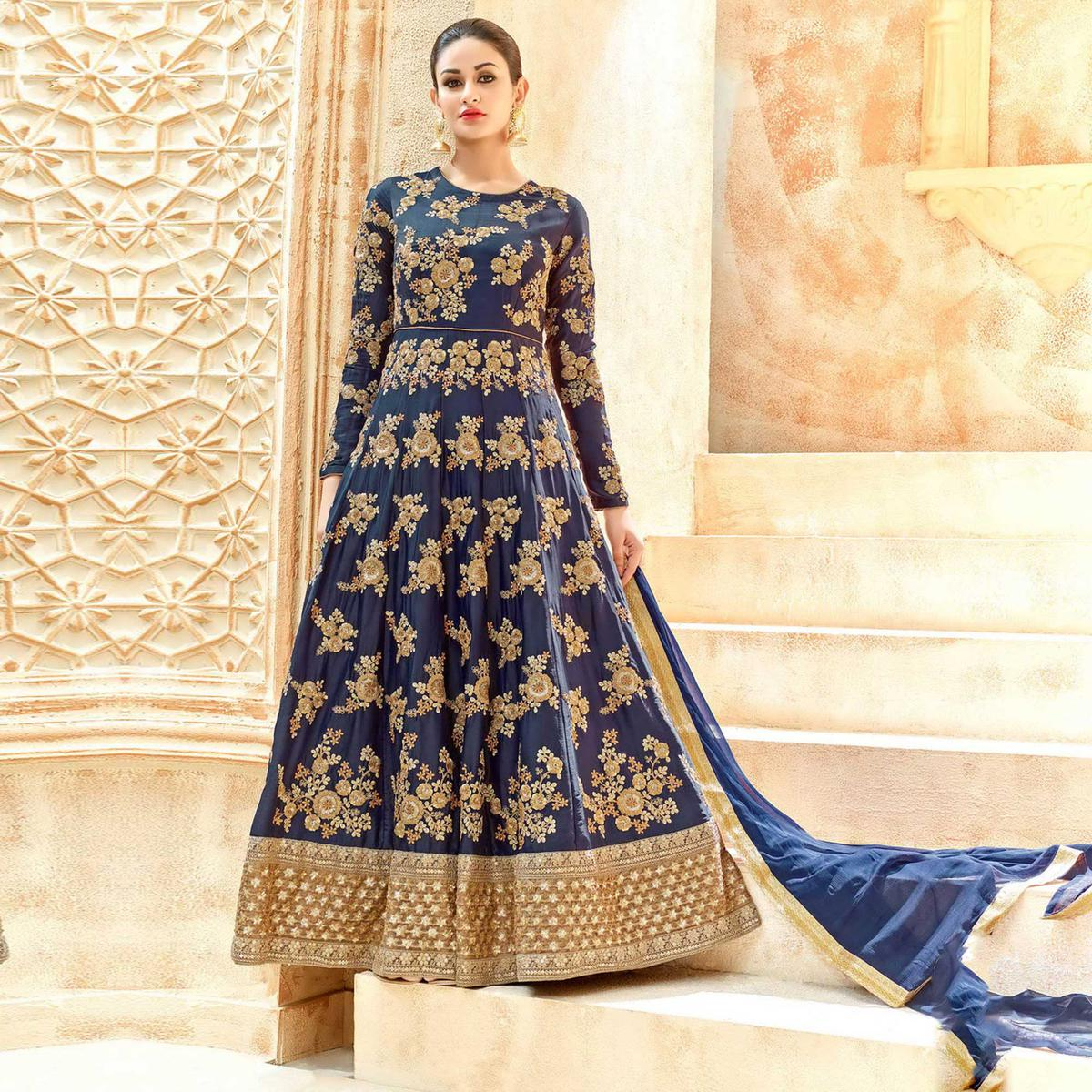 Navy Blue Heavy Embroidered Anarkali for Wedding Reception