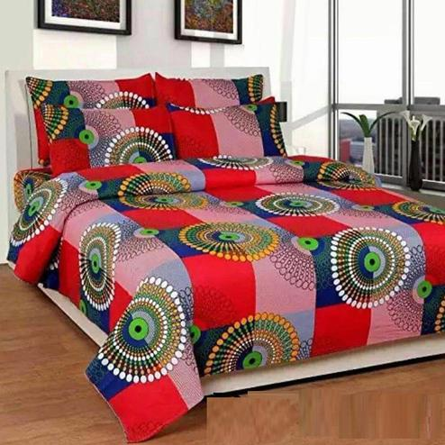 Glowing Multi Colored 3D Geometric Printed Double Bedsheet With 2 Pillow Cover