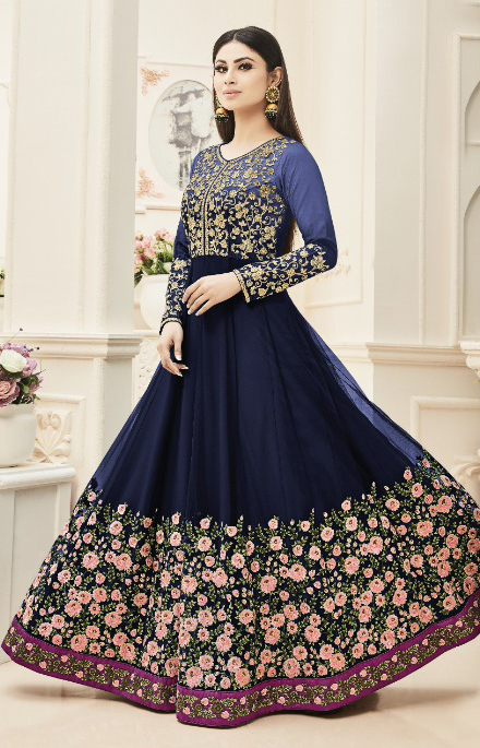 Blue Floral Embroidered Work Anarkali Suit
