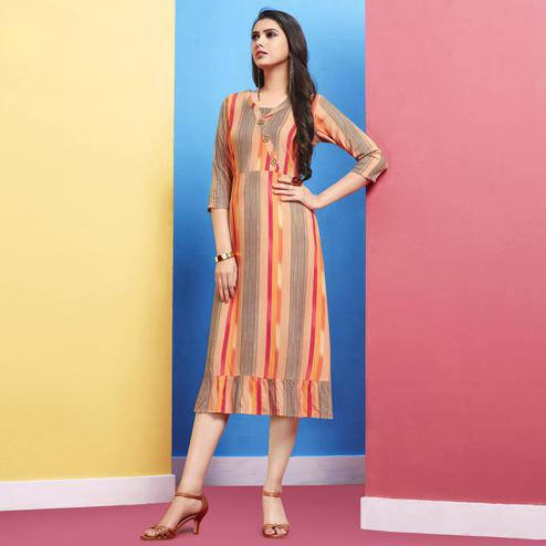 Magnetic Peach Colored Casual Wear Printed Rayon Kurti