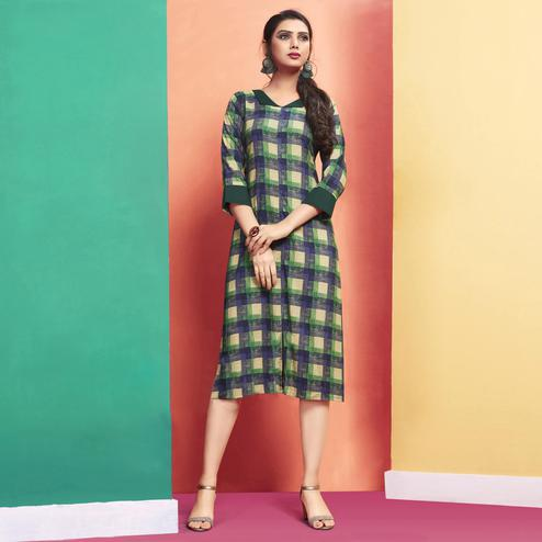 Excellent Navy Blue-Green Colored Casual Wear Printed Rayon Kurti