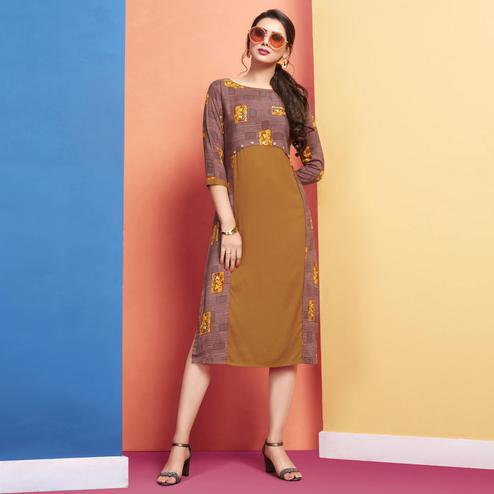 Preferable Mauve Colored Casual Wear Printed Rayon Kurti