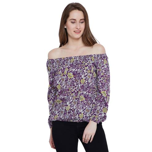 Opulent Purple Colored Casual Wear Floral Printed Off Shoulder Viscose-Rayon Top