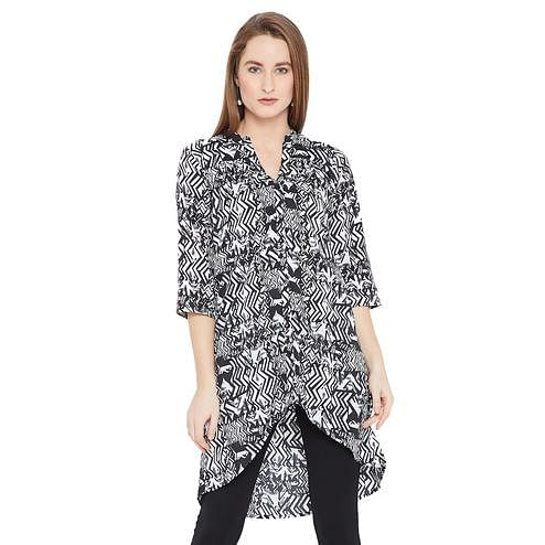 Elegant Black-White Colored Casual Wear Printed High Low Crepe-Polyester Tunic