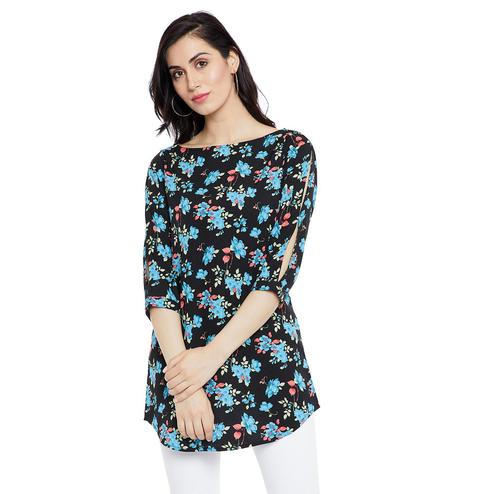 Radiant Black Colored Casual Wear Printed Crepe-Polyester Tunic