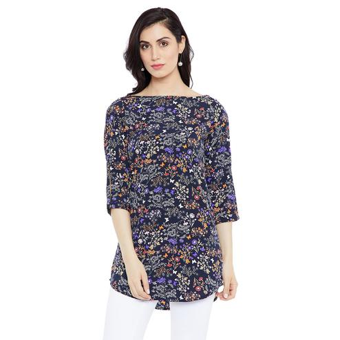Pleasant Navy Blue Colored Casual Wear Printed Crepe-Polyester Tunic