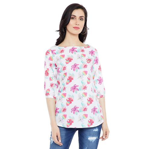 Opulent White Colored Casual Wear Printed Crepe-Polyester Tunic
