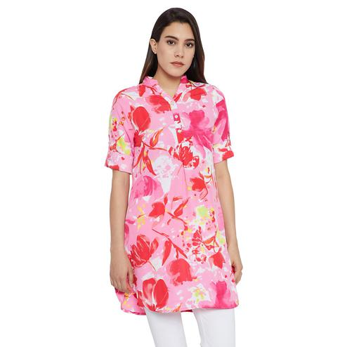 Glowing Pink Colored Casual Wear Printed Crepe-Polyester Tunic