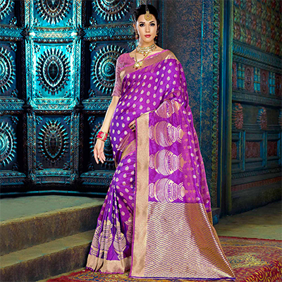 Purple Traditional Design Weaving Work Saree