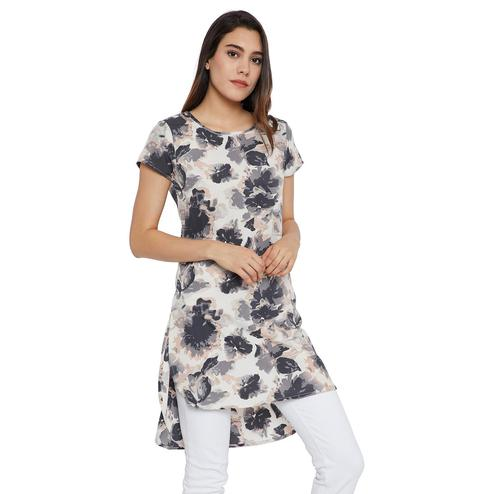 Exceptional Light Beige Colored Casual Wear Printed Crepe-Polyester Tunic