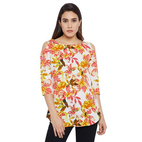 Gleaming White-Red Colored Casual Wear Printed Crepe-Ployester Tunic