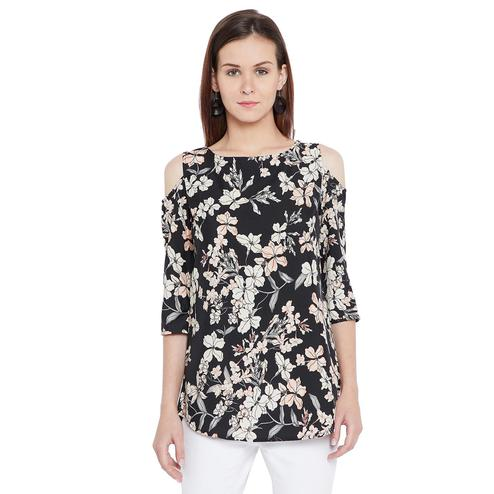 Blissful Black Colored Casual Wear Printed Crepe-Polyester Tunic