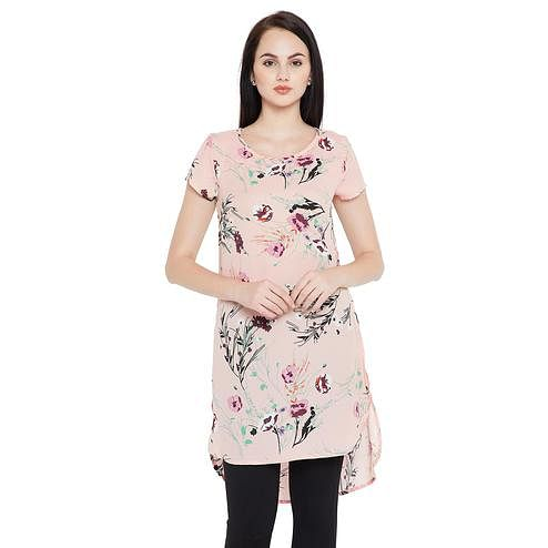 Imposing Light Peach Colored Casual Wear Printed Crepe-Polyester Tunic