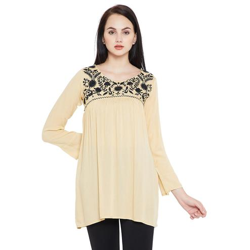 Delightful Beige Colored Casual Wear Embroidered Viscose-Rayon Tunic