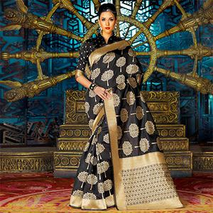 Black Party Wear Weaving Work Saree