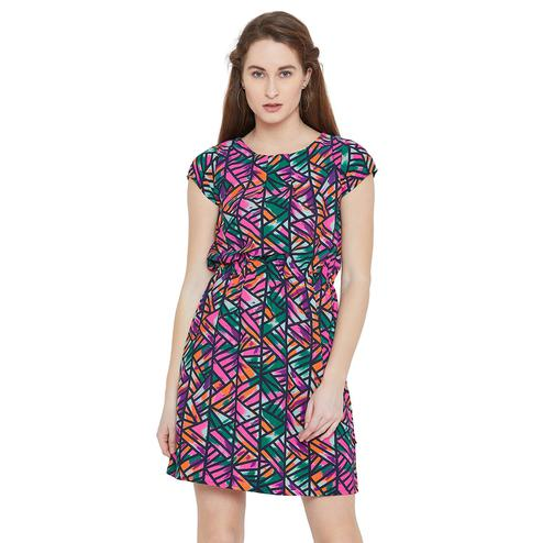 Trendy Multi Colored Casual Wear Printed Knee Length Straight Crape-Polyester Dress