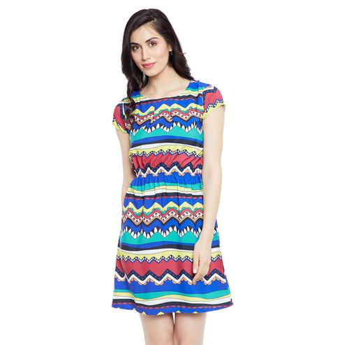 Elegant Multi Colored Casual Wear Printed Knee Length Straight Crape-Polyester Dress