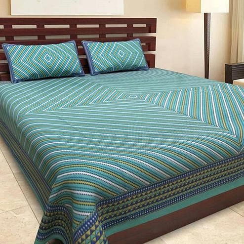 Glorious Green Colored Printed Cotton Double Bedsheet With 2 Pillow Cover