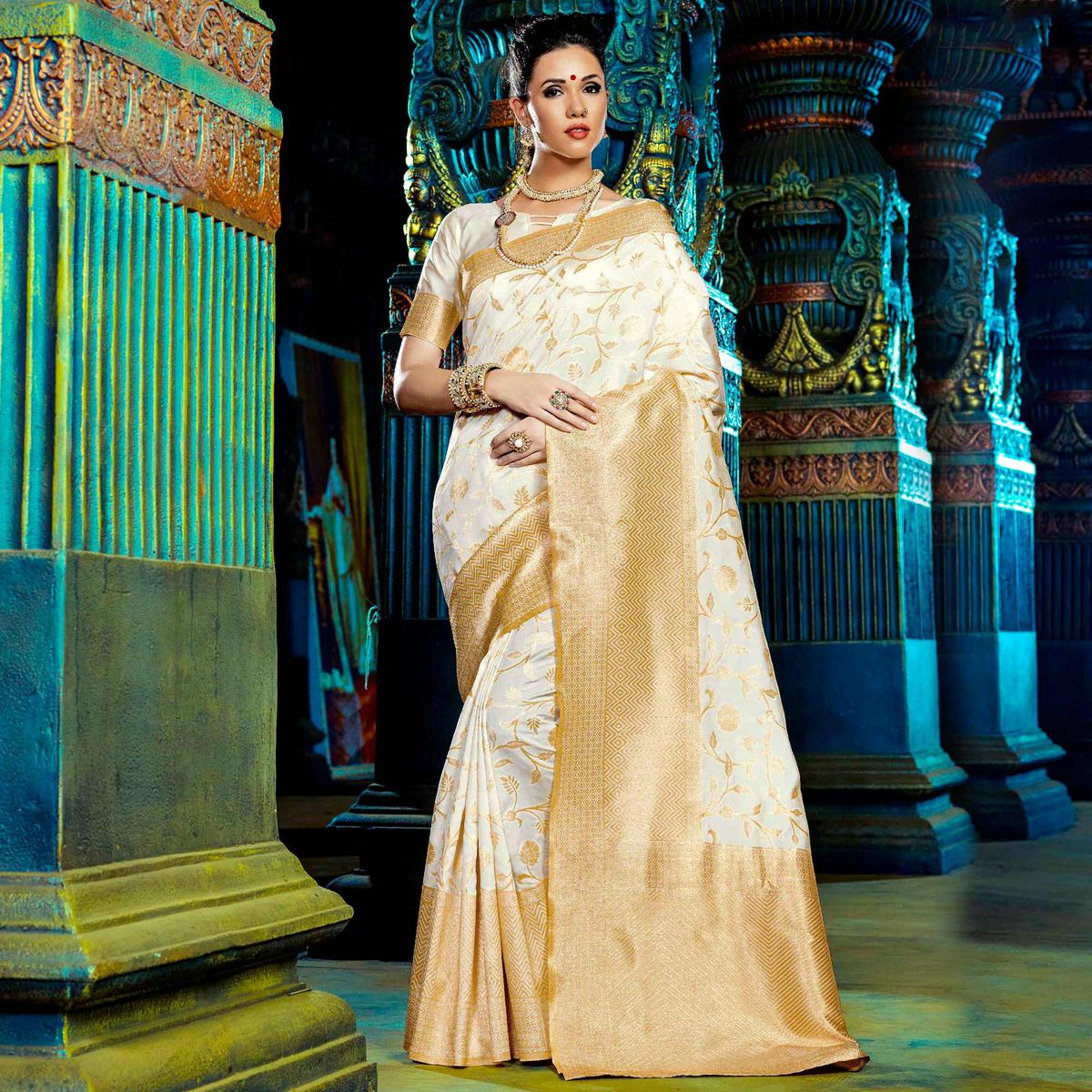 White Party Wear Weaving Work Saree