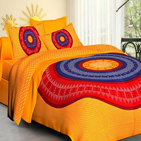 Attractive Yellow Colored Printed Cotton Double Bedsheet With 2 Pillow Cover